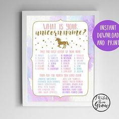 "Unicorn Name Game, Unicorn Party Game, Printable ""What's Your Unicorn Name"" Birthday Party Poster, 8x10 A4 8.5x11 INSTANT DOWNLOAD"