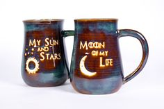 Game of Thrones My Sun and Stars and Moon of My Life Handmade Pottery Coffee Mug Set of 2 by TurtleRokPottery on Etsy Coffee Mug Sets, Mugs Set, Cast Iron Sink, Ceramic Glaze Recipes, Wheel Thrown Pottery, My Sun And Stars, The Potter's Wheel, Pottery Mugs, Pottery Ideas