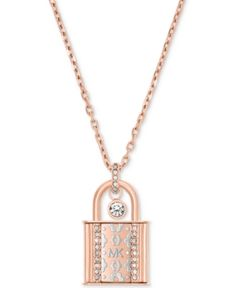Michael Kors Two-Tone Crystal Padlock Pendant Necklace - Gold