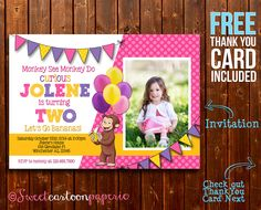 Curious George Girl Invitation, Curious George Girl Photo Invitation, Curious George Birthday Party Invitation, FREE Thank You Card by SweetCartoonPaperie on Etsy https://www.etsy.com/listing/203901386/curious-george-girl-invitation-curious