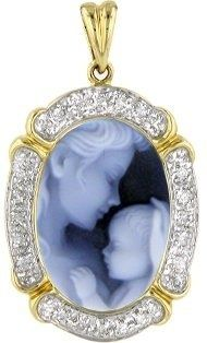 14kt Gold Framed Shades of Blue Agate Cameo Mother Holding Baby Pendant With Diamonds