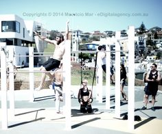 Bondi Beach outdoor gym jumping bars