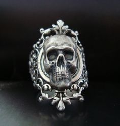 Silver Gothic Skull Ring by ParadiseFindings