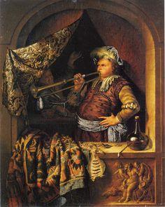 Willem van Mieris - The Trumpeter