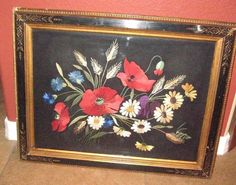 "Vintage EMBROIDERED POPPY FLORAL  FRAMED ART PICTURE 22""X27"""