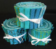 Aqua Jelly Roll Fabric Strips Quilt Kit  - Time Saver Kit.