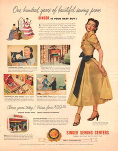 Singer Sewing Machine print ad from 1951 shows the Featherweight Portable and Vogue Couturier party dress in gold