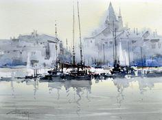 Corneliu Dragan Targoviste - Watercolour Acuarela peisaj marine 15 // evanescentescape.com