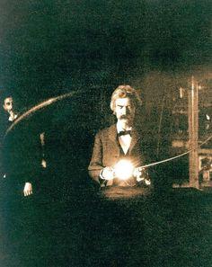 Mark Twain at Tesla's Lab