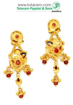 22K Gold 'Peacock' Drop Earrings With Stone - GER5341 - Indian Jewelry from Totaram Jewelers