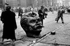 Decapitated statue of Joseph Stalin's head on the streets of Budapest during the Hungarian Revolution of (LAETH HADI) Budapest, European History, World History, Joseph Stalin, Digital Archives, World Of Tanks, New World Order, Cold War, Old Pictures