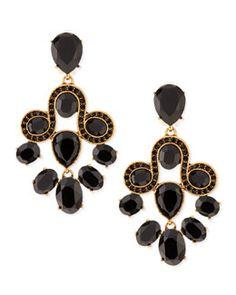 Y26F7 Oscar de la Renta Golden & Faceted Crystal Chandelier Earrings