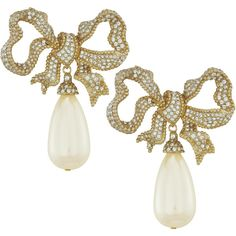 Ciner Bow Pearl Drop Earrings ($407) ❤ liked on Polyvore