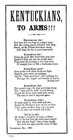 Kentuckians to arms! ! ! Louisville, Ky., 1861.