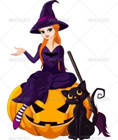 Buy Halloween Witch on pumpkin by Dazdraperma on GraphicRiver. Illustration of Halloween sitting on pumpkin Halloween Symbols, Halloween Doodle, Halloween Icons, Halloween Vector, Halloween Poster, Halloween 2018, Cute Halloween, Vintage Halloween, Halloween Witches