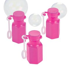 Mini Hexagon Hot Pink Bubble Bottles - OrientalTrading.com