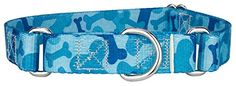 Country Brook Design Blue Bone Camo Martingale Dog Collar-L  Collar fits 18in - 26in size neck. There are no standard sizes for dog collars. Please be sure to measure your dog's neck for correct size. Measure around your dog's neck (with string or tape measure) snugly where you want the collar to lay.  If you have any questions or problems with sizes please give us a call before ordering. 256-974-0700  Breed Recommendation: Pitbull, German Shepherd, or Golden Retriever  Made in U.S.A. ...