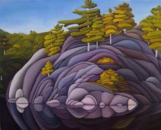 George Lake Killarney~ by Deb Gibson Landscape Art, Landscape Paintings, Abstract Paintings, Abstract Art, Landscapes, Naive, Lake Art, Cottage Art, Watercolor Artwork