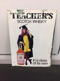 Vintage Original 1960s Advertising Teacher's Scotch Whisky Tin Metal Sign retro
