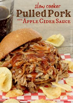 Amazing Pulled Pork in a tangy Apple Cider Sauce.  Serve it on buns with your favorite bbq sauce or make pork tacos.  YUM