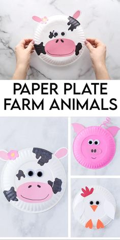 These Paper Plate Farm Animals are a fun activity for toddlers, preschool age and grade school age kids! This paper plate craft uses, construction paper, paint and silly imaginations. Toddler Arts And Crafts, Halloween Crafts For Toddlers, Summer Crafts For Kids, Toddler Paper Crafts, Toddler Art Projects, Farm Animal Crafts, Animal Crafts For Kids, Craft Activities For Kids, Farm Activities
