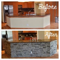 Kitchen Reno #airstone #lowes #kitchenisland