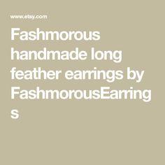 Fashmorous handmade long feather earrings by FashmorousEarrings Feather Headpiece, Feather Earrings, Women's Earrings, Large Feathers, Pink Feathers, Bohemian Lace Dress, Earring Crafts, Custom Earrings, Yellow Earrings