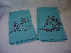 2 Vtg Antique Linen Fingertip Towels Cross stitch Lady Gentleman Silhouette Teal