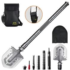 Portable Military Folding Shovel with Tactical Waist Pack & Multi-Tools – Home & Beauty Survival Tools, Camping Survival, Outdoor Survival, Survival Prepping, Zombie Survival Gear, Survival Supplies, Backpacking Gear, Camping Checklist, Tactical Knives