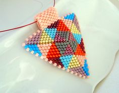 peyote earrings | Modern Geometric Jewelry, Patchwork Beadwoven Peyote Triangle Pendant ...