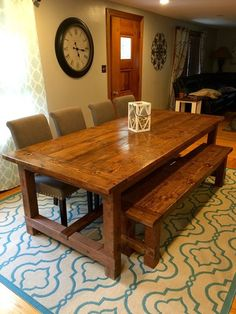 √ 35 Best DIY Farmhouse Table Plans for Your Dining Room - Trumtin 35 Best DIY Farmhouse Table Plans for Your Dining Room Farmhouse Table For Sale, Farmhouse Kitchen Tables, Rustic Table, Farmhouse Furniture, Dining Room Furniture, Dining Room Table, Rustic Furniture, Farmhouse Plans, Room Chairs