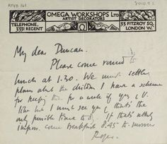 ¤ Letter from Roger Fry to Duncan Grant written on Omega Workshops Ltd headed paper.