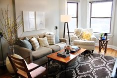 Just perfect! Love the rug and muted accent colors.