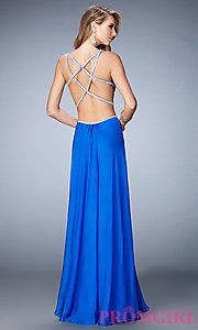 Buy Long La Femme V-Neck Dress with Side Cut Outs at PromGirl