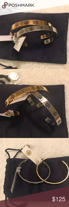 🎉🎊NWT -Tory Burch Gold/Silver Pierced T Cuffs Gold & Silver Tory Burch pierced logo cuff bracelets. Brand new with tags and never worn. Will adjust to fit your wrist.   AUTHENTICITY GUARANTEED.   *Hello would love to sell. Please refrain from any unfair offers. The bracelets are brand new with tags,  never worn and a great deal.   Thank you for shopping my closet and happy Poshing!! Tory Burch Jewelry Bracelets