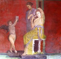 """""Toilet of a bride for the initiation of the Dionysian mysteries"", detail of the ""Megalography"" painted on the wall (around 60 BC) from a Hellenistic original of the century BC - Villa of the Mysteries at Pompeii"" Ancient Rome, Ancient Art, Ancient History, Art Romain, Renaissance, Pompeii And Herculaneum, Pompeii Ruins, Pompeii Italy, Villa"
