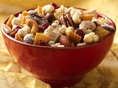 """Caramel Corn Chex Mix (with dried cranberries. cashews, pecans and white chocolate chips.)  Did I hear someone just say """"yum?""""  I think was me!  :)~"""
