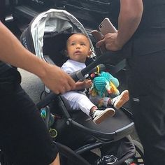 Saint Out in NYC today  #saintwest #northwest