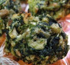 Spinach Balls (appetizer).  Can be frozen ahead of time.