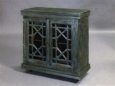 Madison Modern Blue Wood Glass Doors Hall Chest