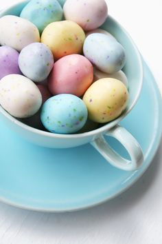 Easter - tea cup filled with Cadbury eggs, wrap in clear/colored bag, tie with colorful ribbon