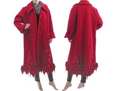 Artsy flared long boho coat boiled wool red / plus от classydress