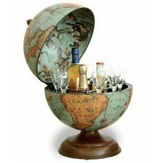 Renaissance World Desk Globe Bar - Italian, Diameter, Safari Love this colour , so warm Safari, Steampunk, Small World, Art Globe, Globe Bar Cart, Drinks Globe, Desk Globe, Drinks Cabinet, Drink Holder
