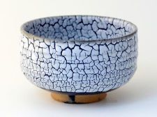 Arita porcelain Japanese tea bowl Kairagi blue gap chawan Matcha Green Tea