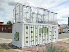 Could grow to have another greenhouse container on top to protect vege garden form the elements and to supply the store below.