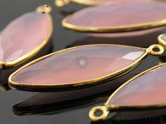 Natural Rose Quartz Bezel Marquise Shape Gemstone by Beadspoint, $9.99