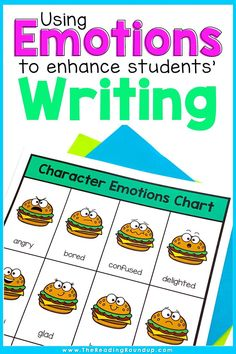 Character Emotions Charts don't just help improve students' reading comprehension, they can also enhance their writing. Students can increase their vocabulary using the emotions charts as they learn synonyms for commonly used emotion words. These printable anchor charts can be displayed in an elementary classroom or in students' writing notebooks. Find other easy and fun ideas for incorporating this tool into your Writing Workshop! #thereadingroundup #anchorcharts #writersworkshop