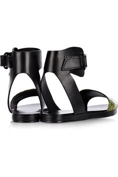 3.1 Phillip Lim|Domina leather and watersnake sandals|NET-A-PORTER.COM