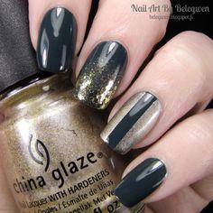 Nail Art by Belegwen: Essence Got My List and Make It Golden, China Glaze Passion