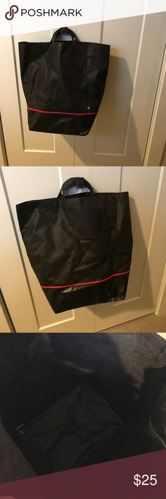 Lululemon rare black tote EUC Used a few times for groceries. Love it and found an extra to share! Lovely lululemon rare tote. I believe it is holiday 2014. Large bottom. Note smaller than normal handle (2015 holiday style followed that trend). Softer than normal red lulu tote. lululemon athletica Bags Totes